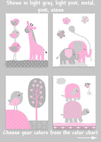 Gray and Pink Nursery Art, Elephant Nursery, Bird Nursery Decor, Turtle Nursery, Giraffe Nursery, Baby Girl Decor, Girl Wall Decor, Canvas