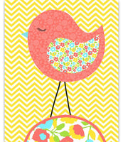 Nursery art print with coral bird on a yellow background with aqua accents.