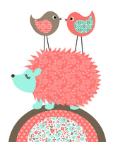 Hedgehog woodland nursery art print in aqua coral and brown.