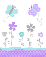 Aqua and Purple Girl's Room Decor, Butterfly Nursery, Baby Girl Wall Art, Girl Nursery Decor, Turquoise, Lavender, Baby Shower Decor