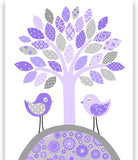 Grey and Purple Bird Nursery Art, Girl's Room Decor, Bird Baby Decor, Turtle Nursery, Baby Girl Decor, Girl Room Wall Art, Baby Girl Nursery
