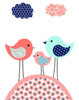 Aqua, coral and navy bird nursery art print