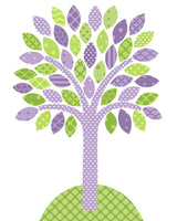 Green and purple tree nursery art print.