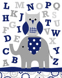 gray and navy alphabet print with elephant and owl