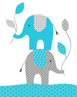 turquoise elephant print for nursery
