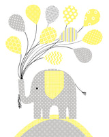 Dream Big Little One, Elephant Nursery Art, Grey and Yellow, Love Baby Print, Set of 4, Baby Shower Gift, Gender Neutral, Canvas Nursery Art