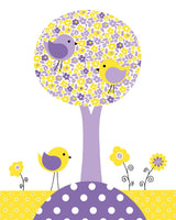 purple and yellow bird nursery decor
