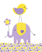purple and yellow elephant and bird nursery
