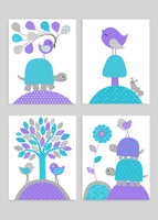 Baby girl nursery art set of four prints with birds and turtles in turquoise and purple.