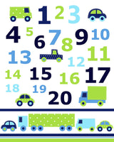 nursery numbers print with cars