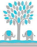 tree print with elephants for nursery