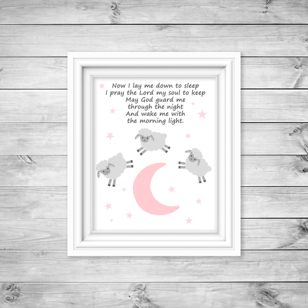 Grey and pink nursery art print of three lambs jumping over the moon with a nighttime prayer.