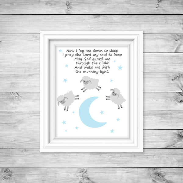 Lamb art print with prayer in baby blue and grey