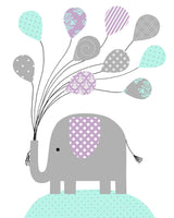 Elephant Nursery Decor, Baby Girl's Room, Girl Nursery Art, Grey Mint Purple, Baby Girl Elephant, Elephant Wall Art, Baby Art Prints, Canvas