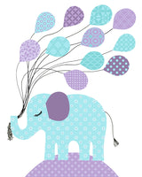 Aqua and Purple Nursery Art, Elephant Nursery Decor, Giraffe Print, Owl with Balloons, Bird Nursery Decor, Girl's Room Decor, Kids Room Art