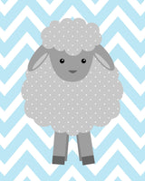 Lamb nursery art print with lamb on baby blue chevron