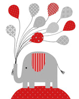 red and grey nursery art