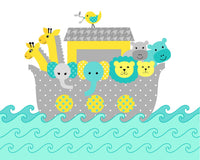 Noah's Ark Nursery Art print in teal, yellow and grey