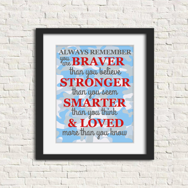 Always remember nursery art print on camo in red, white and blue