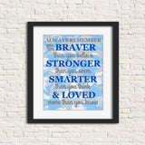 nursery art print with a grey and blue camo background and the words to the poem Always Remember in royal blue and dark gray