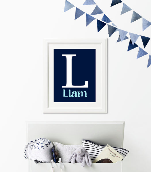 Monogram nursery art print with large initial and name