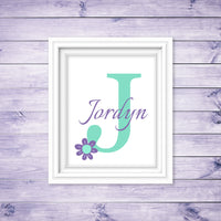 baby girl monogram print with flower