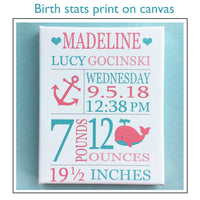 Custom Birth Stats Print, Baby Name Art, Personalized Baby Gift, Zoo Birth Announcement, Baptism Gift, Baby Girl Gift, Birth Stats Canvas