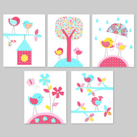 Set of five nursery art prints for a baby girl room with birds in aqua, fuchsia, pink and yellow