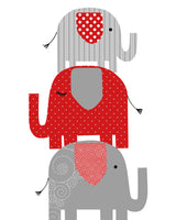 Red and grey elephant nursery print