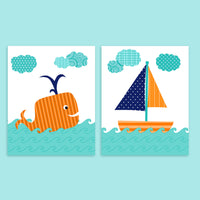 Two nursery art prints of a whale and sailboat in teal, orange and navy