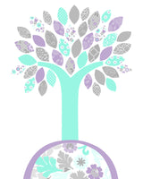 Mint and purple tree nursery decor