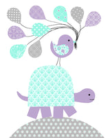 Mint and purple turtle nursery art
