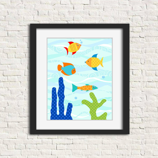 nursery art print with colorful fish