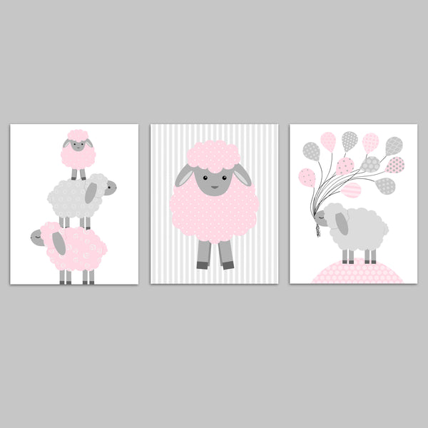 Grey and Pink Lamb Nursery Art for Baby Girl Room, Sheep Nursery Decor