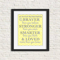 Always Remember nursery art print in grey and yellow