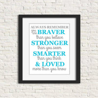 always remember poem art print in grey and teal