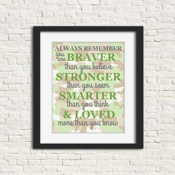 Baby boy print with Always Remember quote on woody camo background.