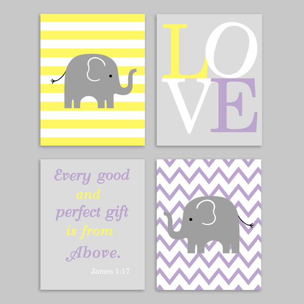 set of 4 grey, purple and yellow elephant nursery art prints