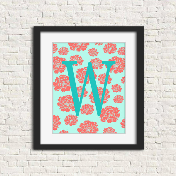 Monogram art print with roses background.