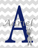 Baby Monogram Print, Giraffe Name Print, Giraffe Monogram, Zoo Baby Decor, Baby Boy Decor, Custom Nursery Art, Baby Name Decor, Canvas Decor