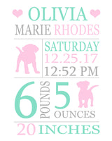 Puppy birth stats print