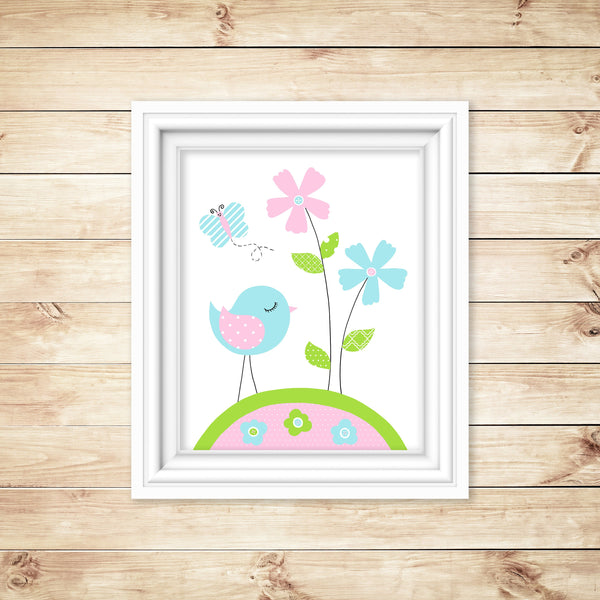 Bird nursery art print in aqua, pink and green.