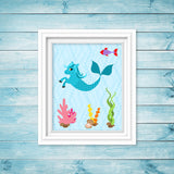 Hippocampus Nursery, Fantasy Nursery Art, Magical Creature, Hippocampus Print, Seahorse Art, Mermaid, Sea Creature Wall Art, Baby Girl Decor