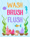 Wash Brush Flush kids bathroom decor