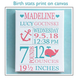 Custom Birth Stats Print, Whale Birth Print, Personalized Baby Gift, Nautical Birth Announcement, Baptism Gift, Baby Girl Gift, Baby Name