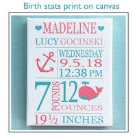 Kitten Birth Stats Print, Baby Name Art, Personalized Baby Gift, Cat Birth Announcement, Custom Baby Gift, Baby Girl Wall Art, Kitten Canvas