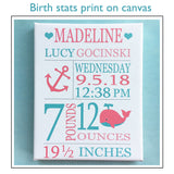 Unicorn Birth Stats Print, Baby Name Art, Personalized Baby Gift, Birth Announcement, Custom Baby Gift, Baby Girl Wall Art, Unicorn Canvas
