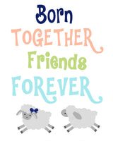 "Twin nursery art print with two lambs playing and the words ""Born together friends forever"" in aqua peach green and navy."