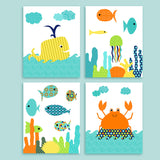 Colorful Fish Nursery Decor for Gender Neutral Baby Room, Nautical Nursery Prints