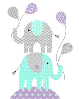 Mint and purple baby girl decor